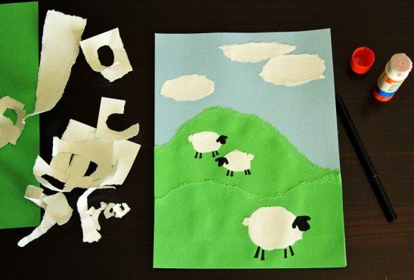 Рваный пейзаж с овечками