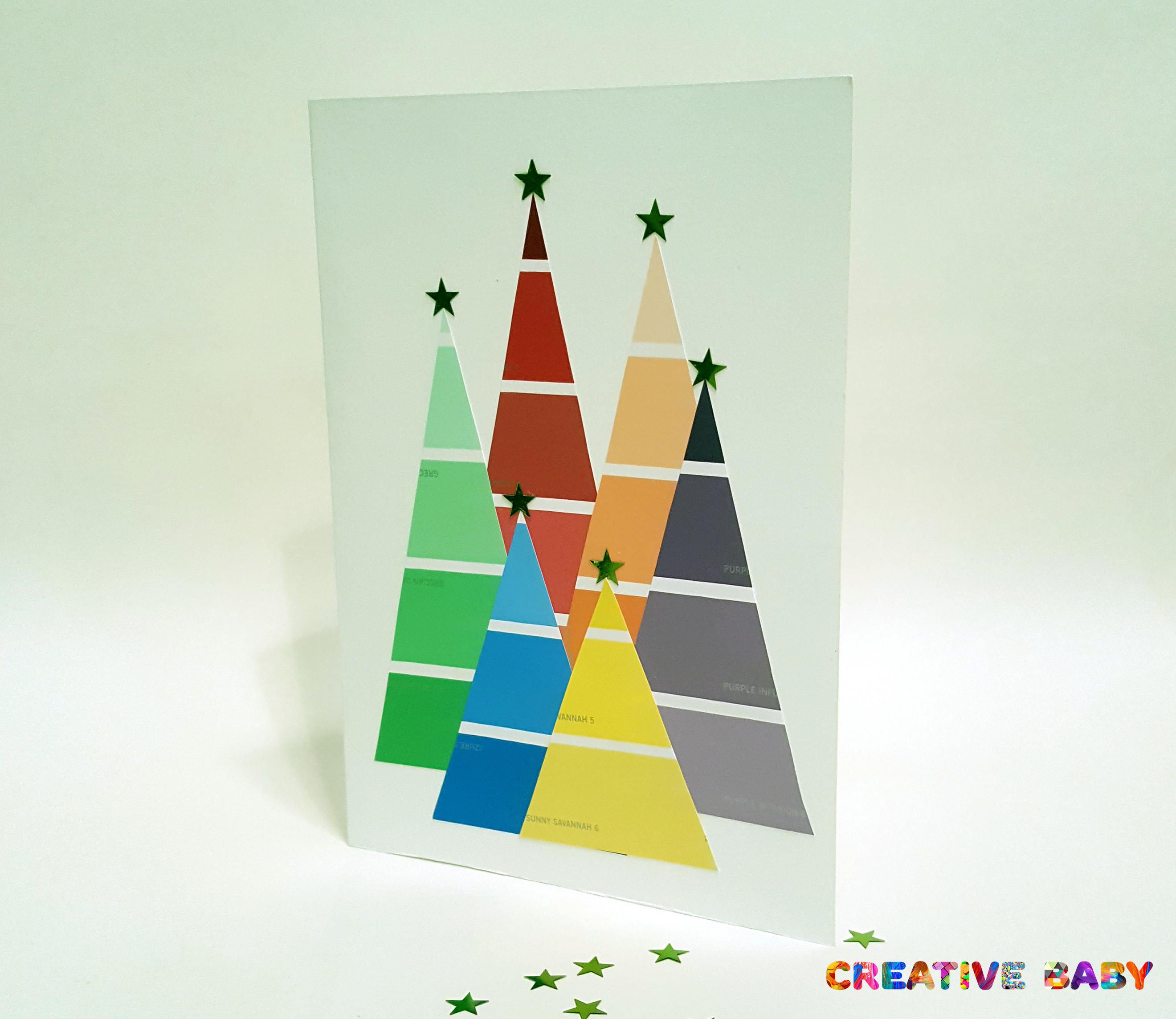 Новогодняя открытка из цветовой палитры красок