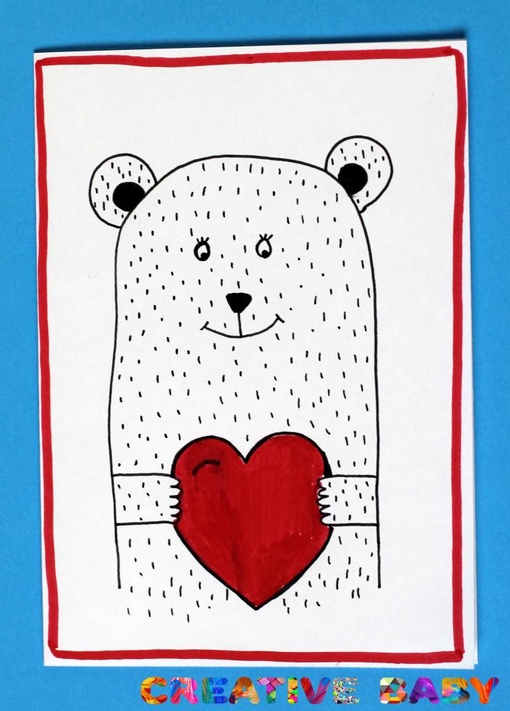 """Открытка """"Влюбленный медведь"""""""