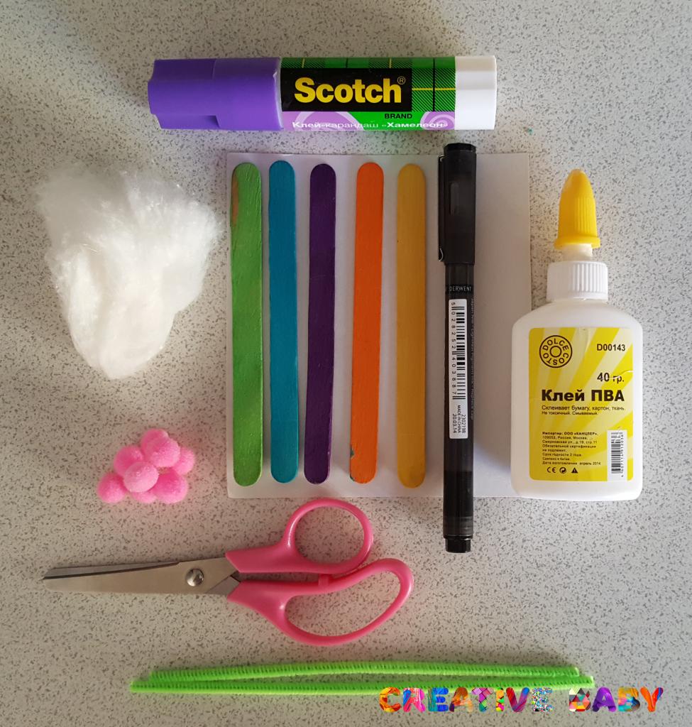 Как сделать маску зайчика на палочке от мороженого