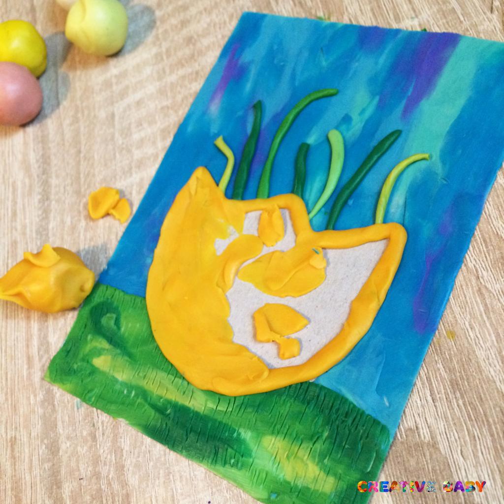 Пластилиновая открытка на Пасху