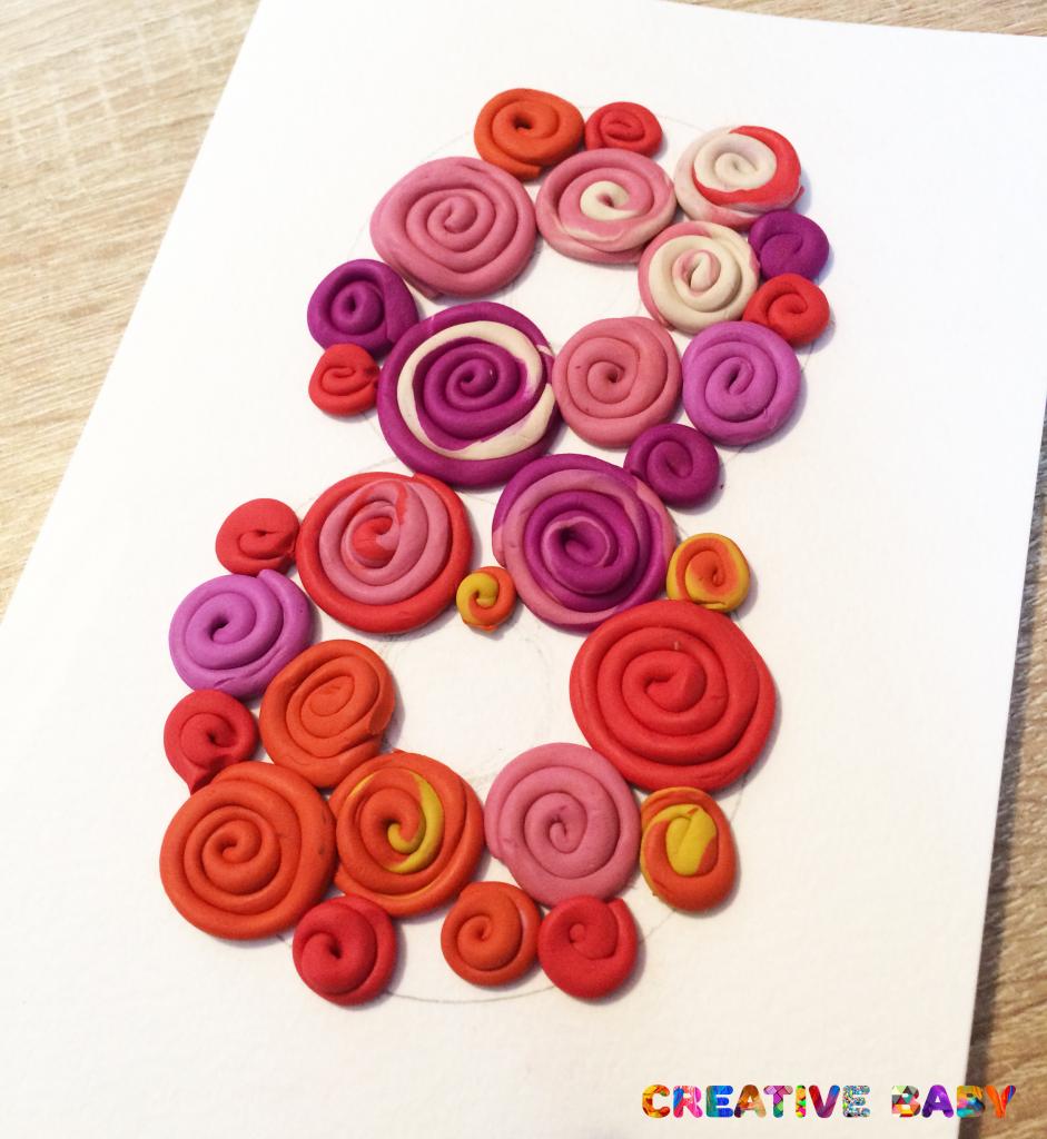 Открытка к 8 марта «Пластилиновые розы»