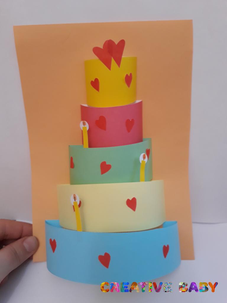 Открытка торт с детьми своими руками