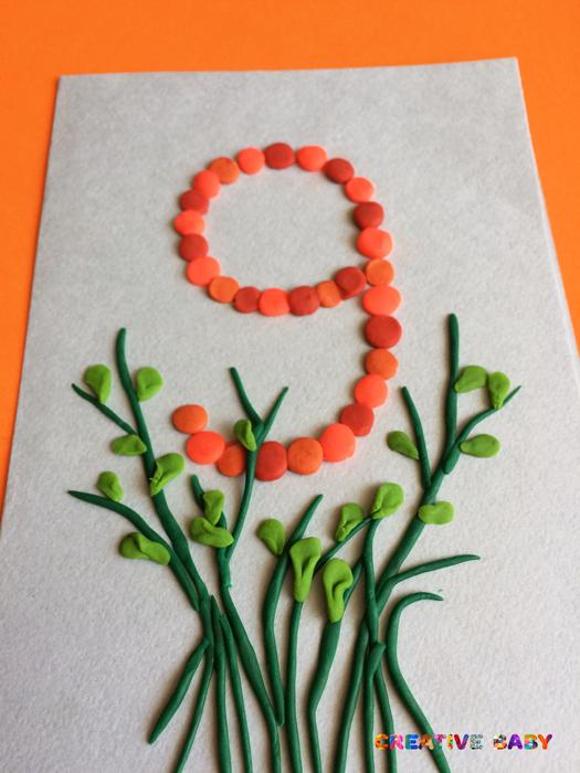 Пластилиновая открытка на 9 мая с георгиевской ленточкой