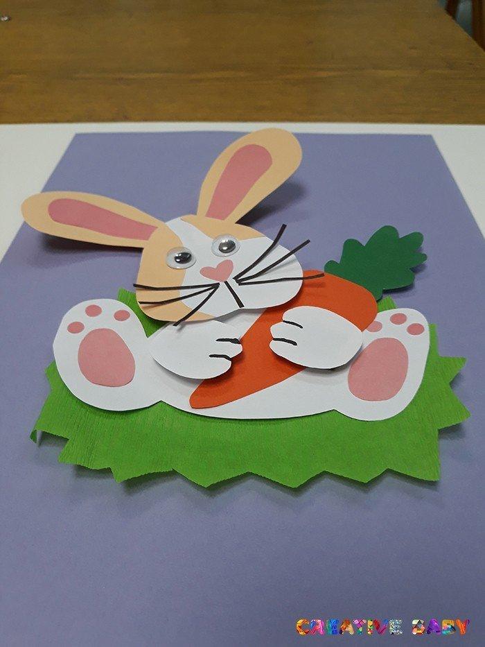 Аппликация «Зайчик с морковкой»